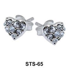 Heart Shape Silver Stud Earrings. #earpiercing #jewelrypiercing #bodypiercing #piercing