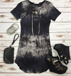 The It's Only the Beginning Tunic Dress is a gorgeous tie dye beauty! With short sleeves, lace up front, and stretchy fabric, you will love the fit of this one!