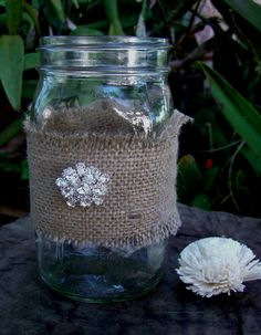 Cute idea to dress up jars for BBA toppings (not the bling but maybe holly-berry / Christmas(ish) theme)