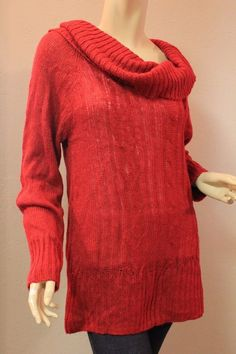 Torrid Red Chunky Cable Sweater Long Sleeve Knit Stretchy Cowl Neck 1 1X 14-16 #Torrid #CowlNeck
