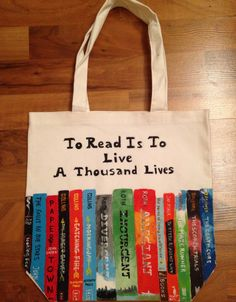A Thousand Lives Book Tote by ThePerksOfBeingArtsy on Etsy