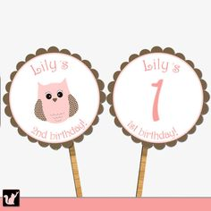 Printable Personalized Pink Owl Cupcake Topper - Scalloped Birthday Party Decoration Custom Circles Sticker Tags Girl Birthday Favors
