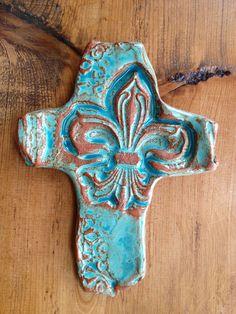 Fleur-de-lis Pottery Cross #ceramic #handmadecrosses