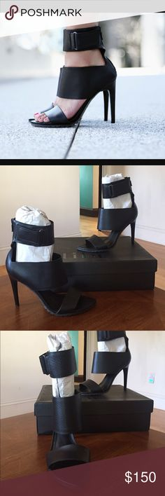 """NIB TIBI Black Evie Sandals Sz 40.5 Guaranteed Authentic. Org retail: $450. New, never worn; comes with box and dust bag. Black leather open toe sandals. Sharp toeline. Velcro detail on the ankle strap. Back zip for easy on and off. Lug platform. 4.25"""" heel. Made in Brazil. NO TRADES. Open to offers through the offer button ☺️ Tibi Shoes Sandals"""