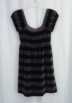 VICTORIAS SECRET PINK Juniors Gray Black Striped Velour Empire Waist Dress, SZ M #VictoriasSecretPink #EmpireWaist #Casual