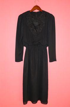 Vintage Dress 70s LBD Black Chiffon Long by PinkCheetahVintage, $24.89