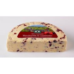 Wensleydale is produced mainly from pasteurized cow's milk with sheep's milk added to enhance the flavor. Wensleydale with Cranberries is a hand-made Yorkshire cheese that is sold fresh & young at only three weeks old. The cheese has a sweet flavor of the fruity succulence of juicy cranberries with honeyed undertones.