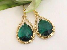 Gold green emerald dangle earrings