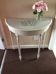 Half Moon Table antique cream & green french style painted half moon table | diy