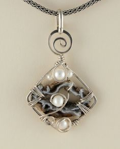Berlin - wire wrapped floating pearl pendant