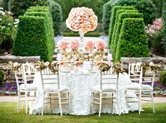 floral topiaries, chair swags ~ what's not to love