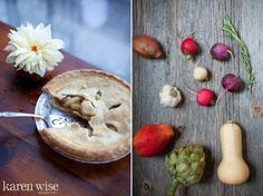 Karen Wise Workshop Apple Pie, Dahlia and Ingredients on Wood Karen Wise Photography #workshop