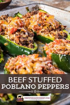 Poblano peppers filled with Southwestern seasoned ground beef, rice, salsa, and cheese. Make Beef Stuffed Poblano Bake for a delicious fiesta dinner. Ground Beef Recipes Easy, Beef Recipes For Dinner, Mexican Food Recipes, Cooking Recipes, Healthy Recipes, Healthy Dinners, Poblano Recipes, Pepper Recipes, Stuffed Chili Relleno Recipe