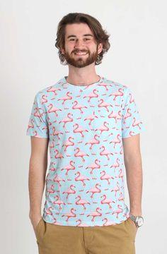 Artistry in Motion Flamingo Print Short Sleeve Tee for Men in Ballad Blue