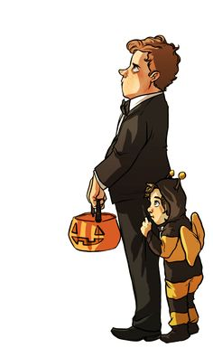 Even as a child Mycroft dressed to impress.   Happy Halloween.  Sherlock as a bee = the most adorable sight ever (there's a great fanfic called Making Friends about Sherlock and Mycroft as children and Sherlock loves bees. It's quite cute)