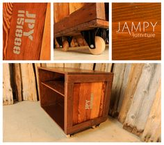 "Old wooden crate converted into an entertainment stand. Or maybe a side table. Or even a rolling bar!! You decide.  Awesome wooden wheels. These are not very common.  There's a barn board shelf and hole in the back for power cords to go through. -  29"" L x 19 W x 24"" H -  www.jampy.co - $475"
