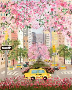Seasons of NYC - Park Ave by Joy Laforme. Art and illustration Posca Art, Art And Illustration, Building Illustration, Magazine Illustration, Design Illustrations, Graphic Design Illustration, Watercolor Illustration, Aesthetic Art, Spring Aesthetic