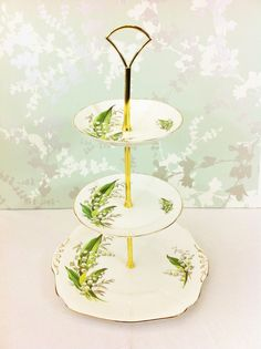"3 Tier ""Lily of the Valley"" Cake Stand, Royal Adderley Birth Flowers, Tiny Flowers, My Flower, Tiered Dessert Stand, Tiered Stand, Lily Of The Valley Flowers, Decoupage, Cake And Cupcake Stand, Language Of Flowers"