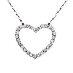 Tiffany & Co. Platinum Diamond Heart Pendant on Chain $2995
