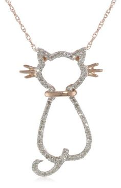 XPY 14k Rose Gold Diamond Cat Pendant Necklace (.18cttw, I-J Color, I2-I3 Clarity), 18 for sale