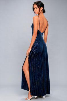 ffbf8faf585 Studio Lounge Navy Blue Velvet Sequin Maxi Dress 1 Синие Платья Для  Выпускной Бала