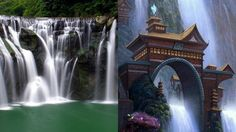 Being circulated as Shifen waterfall in Taiwan. The real Shifen waterfall is on the left. The picture on the right is a work of art, not real.