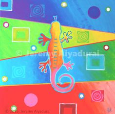 'Komodo Color' // © 2015, Jeremy Aiyadurai. All Rights Reserved. // 24 by 24 // Acrylic, Iridescents, glass bead paste on Canvas // $250 // Prints starting @ $27.35