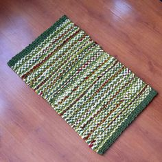 Olive Green and Burnt Red Twined Rag Rug