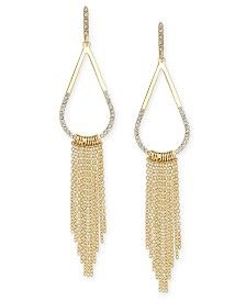 INC International Concepts Gold-Tone Pavé Teardrop Fringe Drop Earrings, Only at Macy's