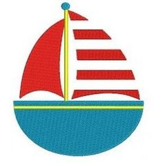 Instant Download Little Boat Machine Embroidery Applique Digitized Design Pattern - 4x4 , 5x7, and 6x10 hoops