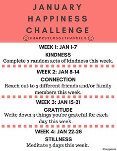 2017 New Year January Happiness Challenge - Random acts of kindness, meditation, gratitude - Happsters Happiness Blog, Happiness Challenge, Gratitude Journal Prompts, Monthly Challenge, Bible Stories, Faith In Humanity, Parenting Advice, Writing Tips, Positive Vibes
