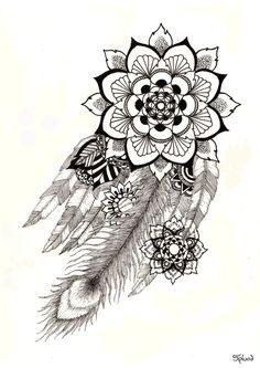 Feathers Mandala Print A3 by Splund on Etsy