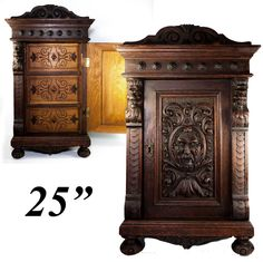 "Superb Antique 25"" Tall Carved Oak Wall Cabinet or Nightstand, 3 Drawers"