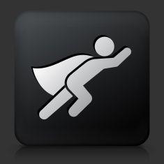 Black Square Button with Superhero Icon vector art illustration