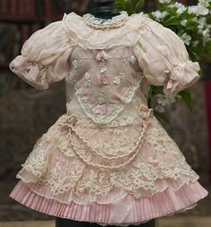 Antique French Silk Lace Dress for Jumeau Bru Steiner Eden Bebe doll from respectfulbear on Ruby Lane