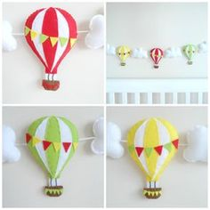 Hot Air Balloon Garland Bunting Banner Lime Lemon by MaisieMooNZ