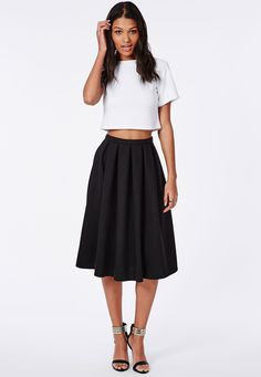 Quilted Full Midi Skirt Black - Missguided