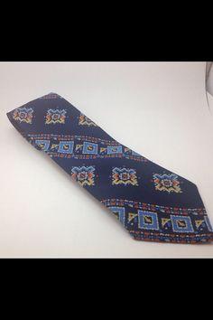 Vintage Blue Embroidered Necktie