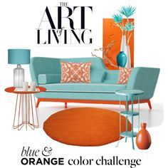 Blue and Orange Challenge by ollie-and-me on Polyvore featuring interior, interiors, interior design, home, home decor, interior decorating, Zanotta, D.L. Rhein, Villeroy & Boch and colorchallenge