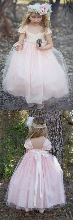 Pink Flower Girl Dresses 2018, New Princess Flower Girl Dresses Sweetheart, Tulle Junior Bridesmaid Dresses Ankle-length Sashes / Ribbons