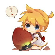 blonde hair blue eyes bow chibi food fruit heart kagamine len mukkun... ❤ liked on Polyvore