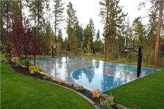 Landscaping around a basketball court
