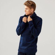 Tlustý svetr s límcem, SVETRY, tmavomodrá, CROPP Pullover, Sweaters, Fashion, Moda, Fashion Styles, Sweater, Fashion Illustrations, Sweatshirts, Pullover Sweaters