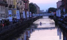 Porta Ticenese canal at sunset during opening night of the World Cup, 2014 © Stella Lucente, LLC www.learntravelitalian.com