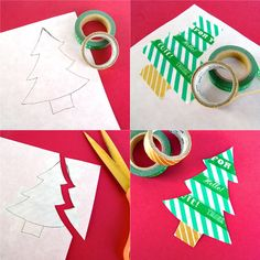 washi tape Christmas cards by Marisa Edghill / featured on discoverpaper.com