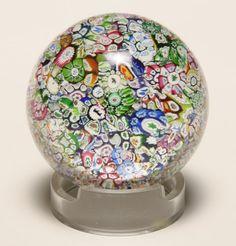 Perthshire Scottish millefiori glass paperweight.