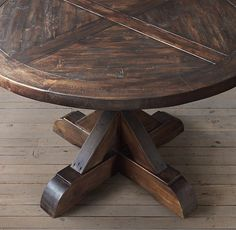 Salvaged Wood X-Base Round Dining Table - Salle A Manger Dining Room Table, A Table, Dining Rooms, Round Farmhouse Table, Rustic Round Dining Table, Plank Table, Diy Table Top, Ideas Hogar, Salvaged Wood