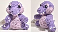 Huggy Gator the Purple Alligator (Came out to be 7.5in (19cm) tall).- Free Amigurumi Pattern here: https://alligatorcreator.wordpress.com/2015/01/28/huggy-gator-pattern/