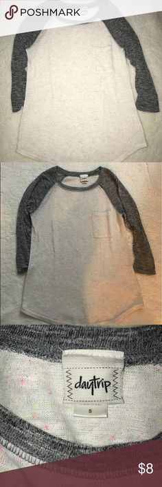 Distressed Daytrip Baseball Tee Daytrip baseball, pocket tee. Size small. Cream with grey sleeves. Intentional pilling for distressed look. Slightly sheer. Pink and neon yellow speckle details. Worn once. In like new condition. Any questions just ask! Daytrip Tops Tees - Long Sleeve