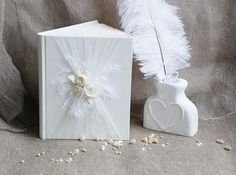 Elegant white Wedding guest book Wedding guest book by Indrasideas